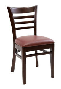 New Gladiator Wooden Walnut Ladder Back Restaurant Chair With Wine Vinyl Seat