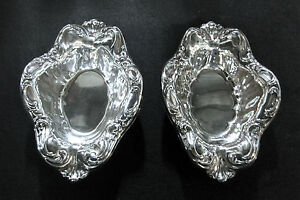 Matching Set Of 2 Silverplate Candy Dishes Vintage