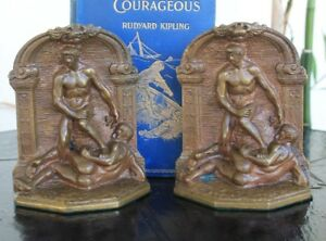 Vintage Solid Bronze Bookends Greek Or Roman Wrestlers Circa 1924 6 Lbs