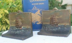 Vintage Bradley Hubbard Nautical Bookends Painted Cast Iron Circa 1920s