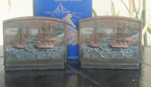 Vintage Bookends Bradley Hubbard Uss Constitution Vs Hms Guerriere Circa 1925