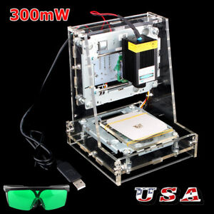 Usb Mini Laser Engraver Diy Mark Printer Cutter Carver Engraving Machine 300mw