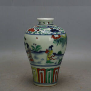 7 China Old Porcelain Ming Chenghua Guan Kiln Doucai Painting Character Vase