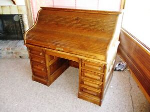 Sale Quality 1980 S Solid Oak Paneled Roll Top Desk Bargain