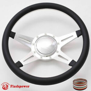 15 5 Billet Steering Wheel Black Half Wrap Horn Button Ford Gm Corvair Triumph