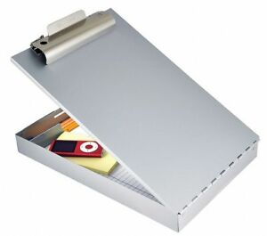 Silver Aluminum Storage Clipboard Legal File Size 9 W X 16 3 16 H 1 Clip