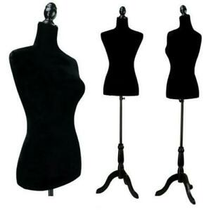 Black Female Mannequin Torso Dress Form Tripod Stand Display W Tripod Stand