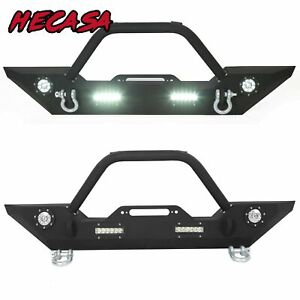 Fit 07 18 Jeep Wrangler Jk Front Bumper Winch Plate D ring Led Light Bull Bar