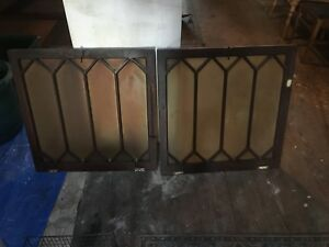 2 Vintage Antique Gothic Wood Frame Window Panel Mirror Sash Church Leaded Glass