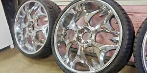 Borghini B3 Chrome 22 X 8 Custom Wheels Rims set Of 4 With Lionheart Tires