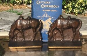 Vintage Judd Bookends Solid Bronze Horse Western Saddle Circa 1930 G Allen