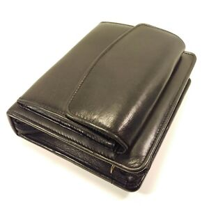 Franklin Quest Covey Black Nappa Leather Compact Planner Zipper Binder Pockets