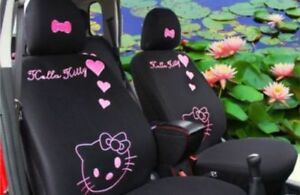New 10 Pcs Hello Kitty Black Car Seat Covers Front Rear Cover Accessory Set