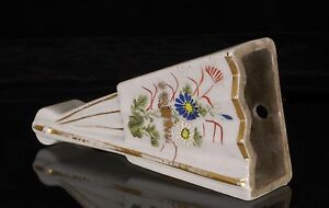 Antique Chinese Multicolored Hand Painted Porcelain Fan Wall Vase Hanged Vase