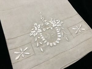 Antique Linen Hand Towel W Exquisite Floral Embroidery Drawn Thread Rf816