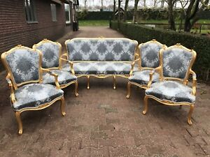 Unique Sofa Settee Couch Set With 4 Chairs In Louis Xvi Style