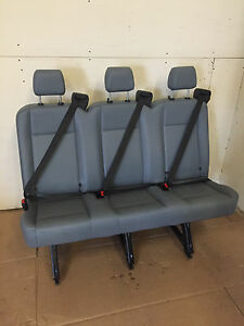 2015 2016 Ford Transit Van 3 Person Couch Bench Seat Gray Vinil With Brackets