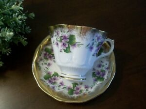Vintage Queen Anne Violets Tea Cup Saucer Heavy Gold Bone China England 357