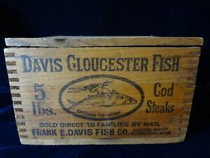 Vintage Davis Gloucester Fish 5 Lb Cod Steaks Wood Box With Lid