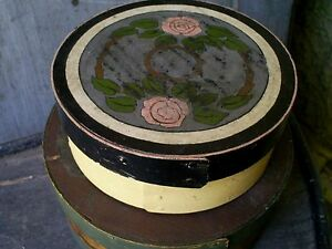 Antique Folk Art Painted Round Bentwood Pantry Box Thick Walled Spice 6 X 2