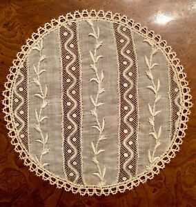 Antique 19th C Hand Made Lace Doily Doilies Coasters 4 Pcs
