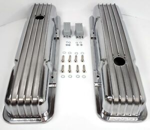 Small Block Chevy Nostalgic Polished Aluminum Finned Short Valve Covers 350 Sbc