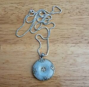 925 Silver Chinese Jade Donut Necklace