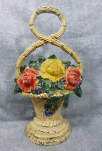 Antique Roses In Basket With Looped Handle Heavy Cast Iron Doorstop