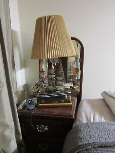 Vintage Constitution Year 1814 Replica Ship Model Lamp Wood Cloth