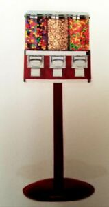 Bulk Candy Vending Machine Triple Head Maroon And Chrome Pays For Itself