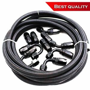 An8 8an An 8 08an Nylon Braided Oil Fuel Line Fitting Hose End Adaptor Kit Black