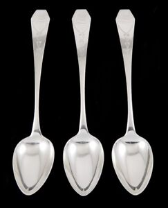 3 Antique C1800 American Coin Silver Coffin End T Keller Serving Spoons 9 5 8