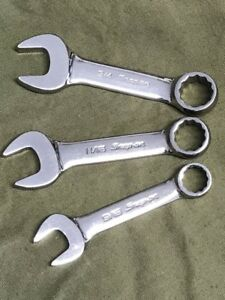 2003 Snap On Usa Set Of 3 Midget Combination Open Box End 12 Pt Wrenches Tools