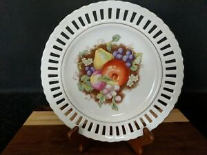 Vintage Porcelain Reticulated Decorative Plate With Fruits Measures 8 1 2