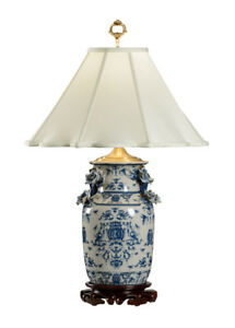 Blue And White Porcelain Table Lamp With Dragons
