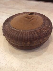 Antique Chinese Reed Wicker Sewing Basket W Pin Cushion Top