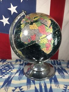 Vintage 1960s Replogle 12 Starlight World Globe With Chrome Base Featuring Ussr