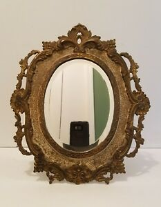 Antique Cast Metal Vanity Standing Mirror