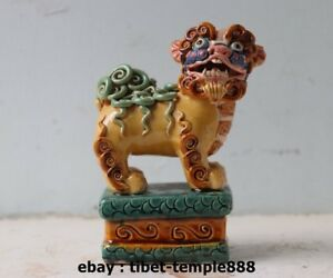 5 5 Chinese Wucai Porcelain Pottery Foo Dog Lion Lucky Fengshui Animal Statue