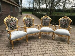 Unique Set Of 4 Chairs In Gobelin Louis Xvi Style