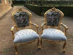 Unique Pair Of 2 Chairs In Gobelin Louis Xvi Style