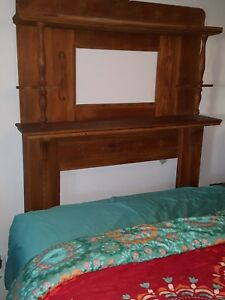 Antique Oak Fireplace Mantle With Shelves Very Ornate