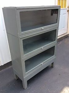 Vtg Globe Wernicke 3 Section Grey Industrial Metal Barrister Bookcase W Base