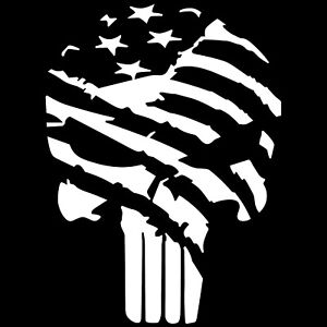 Punisher Skull Distressed American Flag Vinyl Decal Sticker 3 Molon Labe