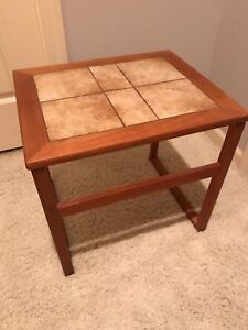 Danish Modern Tile Top Accent Side Table Mobler Era