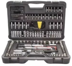 Stanley 226 piece Mechanic Tool Set Polished Chrome Ratchet Socket Sae Metric Mm