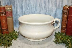 Antique German Dresden Semi Porcelain Creamy White Chamber Pot Laurel Wreath