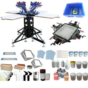 4 Color Screen Printing Kit With Manul Stretcher Screen Frame Shirt Press Tool