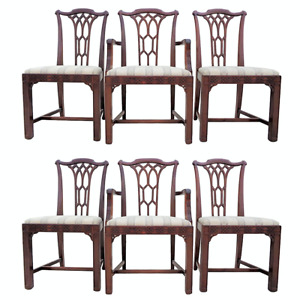 Vtg Chinese Chippendale Fretwork Chinoiserie Carved Dining Chairs 6 Solid Wood
