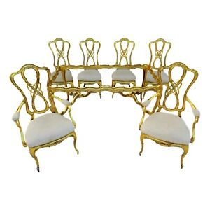Vtg Gold Gilt Aluminum Louis Xv Cabriole Leg Dining Set 6 Chairs Table And Glass